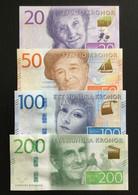 SWEDEN SET 20 50 100 200 KRONOR BANKNOTES 2015-2016 UNC - Sweden