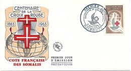 CENTENAIRE DE LA CROIX ROUGE 1963 - COTE FRANCAISE DES SOMALIS - FDC - DJIBOUTI 2/9/1963 - Red Cross