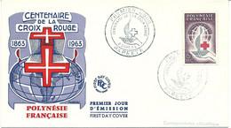 CENTENAIRE DE LA CROIX ROUGE 1963 - POLYNESIE FRANCAISE - FDC - PAPEETE 2/9/1963 - Red Cross