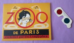 Zoo De Paris En Relief Par Les Anaglyphes - Livre Souple  Plus Lunette 3d - Animaux - Couverture Rouge - - Otros