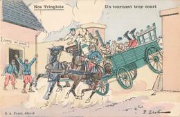 Militaire Cpa Illustration Nos Tringlots Un Tournant Trop Court - Humoristiques
