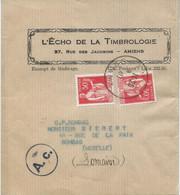 BANDE POUR JOURNAL 1940 AVEC 2 TIMBRES AU TYPE PAIX ET CACHET DE CENSURE - 1921-1960: Modern Tijdperk