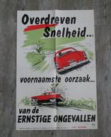 """Affiche Poster Via Secura """"Overdreven Snelheid"""" - Hoge Raad Voor De Verkeersveiligheid - Plakate"""