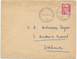 LETTRE 1951 AVEC TIMBRE AU TYPE MARIANNE DE GANDON ET CACHET HOROPLAN DE CONFLANS S / LANTERNE HTE SAONE - Cachets Manuels