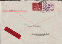 Allemagne 1936 Y&T 572 Et 575. Jeux Olympiques De Berlin. Lettre Exprès, Munich à Stuttgart Bureau Téléphone. Hippisme - Summer 1936: Berlin