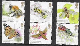 UK, 2020, MNH, INSECTS, BRILLIANT BUGS, BUTTERFLIES, WASPS, BEES, BEETLES, 6v - Honeybees