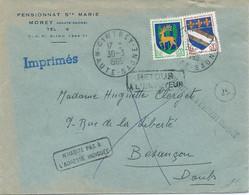 LETTRE 1965 AU TARIF IMPRIMES AVEC 2 TIMBRES TYPE BLASON OBLITERES CINTREY HAUTE SAONE ET CACHET RETOUR A L'ENVOYEUR - 1961-....