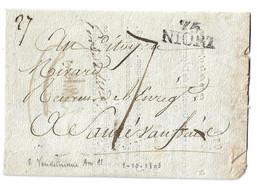 (Z11) MARQUE 75 / NIORT - LETTRE => SAUZE VAUSSAIE AN 11 - 1801-1848: Precursori XIX