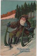 RUSSIA Carte Gaufrée Santa Claus Père Noël - Santa Claus