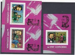 Comores Non Répertoriés Yvert 6  Feuilles Individuels  142 à 144 Et PA 104 à 106 1ere Liaison Téléphonique Phone - Comoros