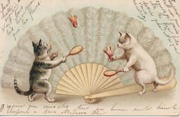 L220A058 - Dessin De Chats Humanisés Jouant Aux Raquettes Devant Un éventail - Carte Précurseur - Cats