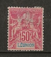 REUNION: Obl., N° YT 42, Aminci, B. Centré, B - Usati