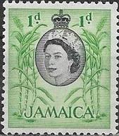 JAMAICA 1956 Queen Elizabeth II - 1d Coconut Palms MH - Jamaica (...-1961)