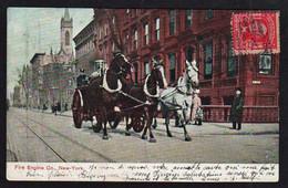 NEW- YORK: Plan TOP Sur Un Attelage De 3 Chevaux Tirant La Pompe à Incendie Des Pompiers. Carte Obl En 1908 - Transports
