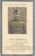 Genevrois André - Soldat Au 1er Corps De Transports - Fleurus 1901 / Leuven 1943 - Esquela