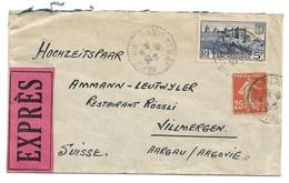 (C09) - Y&T N° 392+235  LETTRE EXPRES PARIS BOETIE =>SUISSE 1938 TARIF 1-20 DU 01/08/1937 - France