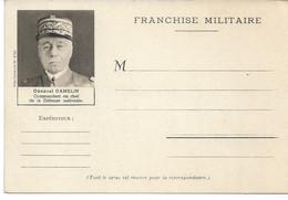CARTE FRANCHISE Militaire WW2 Général GAMELIN Commandant En Chef De La Défense Nationale - Military Service Stampless