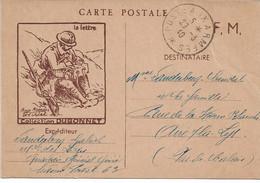 """CARTE FRANCHISE Militaire WW2 """"Aux Armées """" Collection Dubonnet La Lettre - Military Service Stampless"""