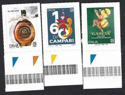 Italia, Italy, Italie, Italien 2020; Anniversari: Vecchia Romagna Buton, Campari Bitter, Spumante Gancia;bordo Inferiore - Wines & Alcohols
