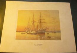"Estampe Royal Navy : H.M.S. ""Bramble - 1890 (Repro). - Militaria"
