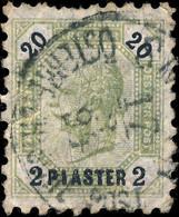 AUSTRIAN LEVANT / LEVANT AUTRICHIEN - 1891 Mi.28B 2 Pi / 20kr OLIVE Line Perf. 9 - Eastern Austria