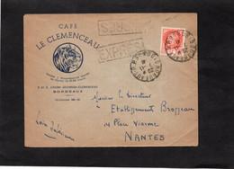 LSC 1941 - Entête  CAFE LE CLEMENCEAU à BORDEAUX - Griffe EXPRESS Et Cachet Bordeaux Sur Pétain YT 521 Seul Sur Lettre - 1921-1960: Moderne