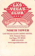 Las Vegas Club Casino - Las Vegas, NV - Very Early Hotel Room Key Card - Hotelkarten