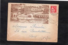LSC 1934 - Enveloppe Illustrée  - GRAND HOTEL DES BAINS à LOCOUIREC (Finistère) & Cachet Perlé LOCOUIREC - 1921-1960: Moderne