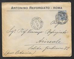 LETTERA CON ANNULLO POSTALE AMB. ROMA - NAPOLI 149 SU MICHETTI  VG. 1920 N°273 - Marcophilie