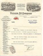 2 Factures 1914-20 / PARIS / LILLE ROUEN BELFORT / MOSCOU NEW-YORK / VACUUM OIL COMPANY / Huiles GARGOYLE - 1900 – 1949