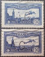 DF50500/1159 - 1930 - POSTE AERIENNE - AVION SURVOLANT MARSEILLE - N°6 Bleu + 6a Outremer ☉ - 1927-1959 Afgestempeld