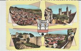 CPSM CLERMONT L'HERAULT (47) MULTIVUES AVEC BLASON - Clermont L'Hérault