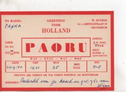 Cpa.Cartes QSL.PAORU.1950.Holland.to PAOKA - Radio Amatoriale
