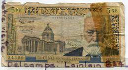 - BANQUE DE FRANCE - Billet De 5 NF, Cinq  Nouveau Francs, F2 -11 1961 F, Trés Usagé, Victor Hugo,  Scotch,  Scans. - 5 NF 1959-1965 ''Victor Hugo''