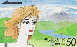 TC Ancienne JAPON / NTT 250-015 - Série Peinture Femme & MONT FUJI - Girl JAPAN Front Bar Phonecard - Balken TK - Japon