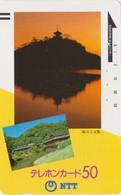 TC Ancienne JAPON / NTT 250-030 - Paysage - Pagode & Coucher De Soleil - Sunset JAPAN Front Bar Phonecard - Japon