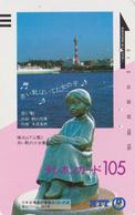 Télécarte Ancienne JAPON / NTT 250-031 - Paysage Statue Fillette Btaeau -  JAPAN Front Bar Phonecard - Japon