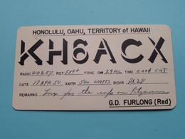 KH6ACX HONOLULU OAHU Hawaii G.D. Furlong > WOZEP > USA Johantgen Colorado 1950 ( See / Voir Photo ) - Radio Amatoriale