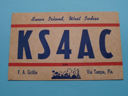 KS4AC SWAN Island WEST INDIES F.A. Griffin > WOZEP > USA Colorado 1950 ( See / Voir Photo ) - Radio Amatoriale