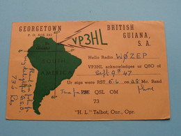 "VP3HL Georgetown BRITISH GUIANA S.A. "" H.L. Talbot "" > WOZEP > USA Colorado 1947 ( See / Voir Photo ) - Radio Amatoriale"