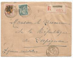 N°602+650 LETTRE REC FACTEUR RECEVEUR SAHORRE 5.3.1945 PYRENNES ORLES - 1921-1960: Periodo Moderno