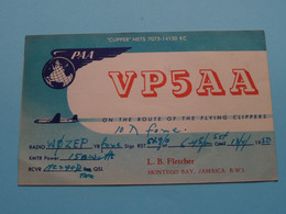 VP5AA ( PAA Clipper ) L.B. Fletcher Montego Bay Jamaica > WOZEP > USA Colorado 1950 ( See / Voir Photo ) - Radio Amatoriale