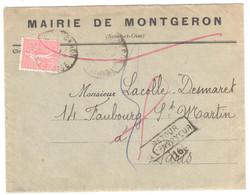 MONTGERON Lettre Entête MAIRIE 50c Semeuse Lignée Yv 199 Dest PARIS Retour Envoyeur 16 Verso Marques Facteurs Et Inconnu - France