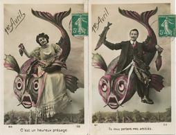 Surrealisme Montage Avion 2 Cartes 1 Er Avril . . April Fool. Sage Femme Et Lingère Chateaumeillant Cher - Other