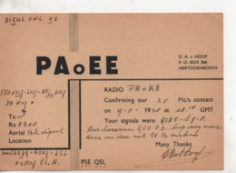 Cpa.Cartes QSL.PaoEE.1948.Hertogenbosch.to PAOKA - Radio Amatoriale