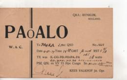 Cpa.Cartes QSL.PaoALO.1939.Holland.to PAOKA - Radio Amatoriale