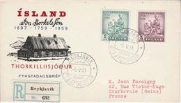 ISLANDE LETTRE FDC RECOMMANDEE POUR LA FRANCE 1959 - Covers & Documents