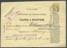 N°50 - 50 Centimes Ocre, Obl. Sc BRUXELLES 3 Sur Enveloppe ADMINISTRATION DES POSTES DE BELGIQUE VALEURS A RECOUVRER N°2 - 1884-1891 Léopold II