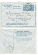 REF2050/ Entier Aérogramme 2 II NF C.Knokke 9/5/51 > Congo Belge Kalina Léopoldville C.d'arrivée 11/5/51 - Stamped Stationery