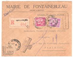 FONTAINEBLEAU Lettre Recommandée AR Entête Mairie Paix 1,75F 40c Yv 281 289 Retour Envoyeur Paris 17 Inconnu Ob 1938 - France